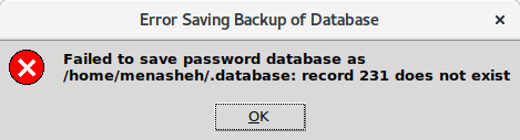 error saving backup of database: record 231 does not exist