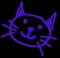 sketch of a purple kitty
