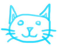 sketch of a blue kitty