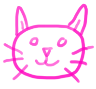 sketch of a pink kitty