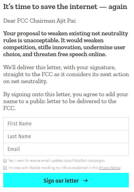 letter to Ajit Pai: Paraphrased, it says weakening net neutrality would be bad, so don't do it.
